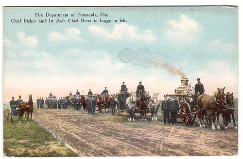 Pensacola - Fire Department on horses and Wagons